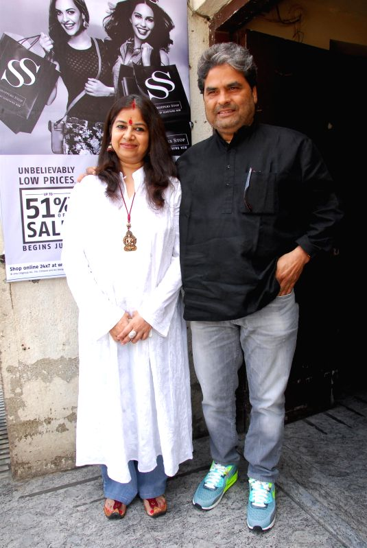 Filmmaker Vishal Bhardwaj and wife Rekha Bhardwaj during the trailer launch of upcoming film Haider at PVR Cinemas in Mumbai on July 7, 2014. - Vishal Bhardwaj and Rekha Bhardwaj