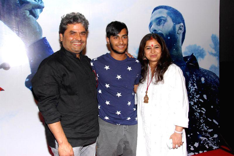 Filmmaker Vishal Bhardwaj and wife Rekha Bhardwaj during the trailer launch of upcoming film Haider at PVR Cinemas in Mumbai on July 7, 2014. - Vishal Bhardwaj and Rekha Bhardwaj