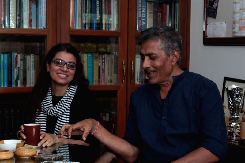 "Filmmakers Alankrita Shrivastava and Prakash Jha during the promotional interview of film ""Lipstick Under My Burkha"" in Mumbai on April 26, 2017. - Alankrita Shrivastava and Prakash Jha"