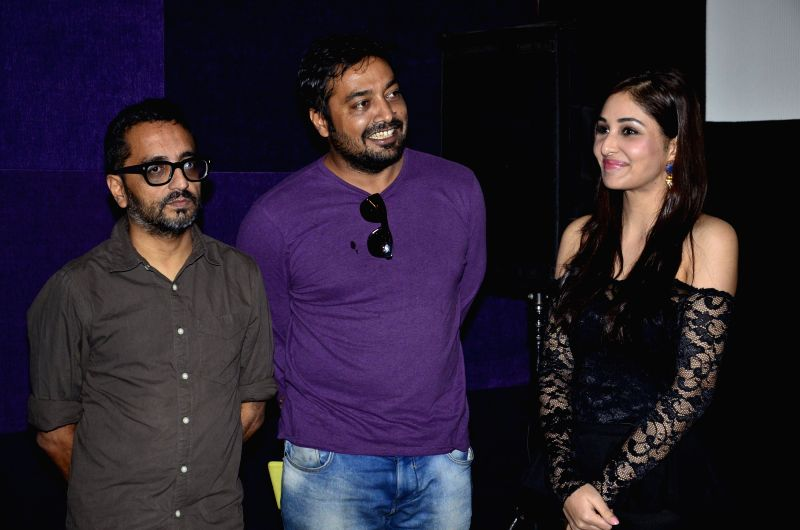 Filmmakers Anurag Kashyap, Shimit Amin, former Miss India Pooja Chopra during the first look of documentary film The World Before Her at juhu in Mumbai on 22nd April 2014. - Anurag Kashyap, Shimit Amin and Pooja Chopra