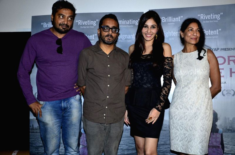 Filmmakers Anurag Kashyap, Shimit Amin, former Miss India Pooja Chopra and documentary filmmaker Nisha Pahuja during the first look of documentary film The World Before Her at juhu in Mumbai on 22nd . - Anurag Kashyap, Shimit Amin and Pooja Chopra