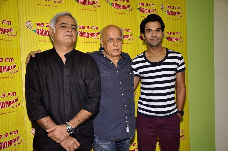 Filmmakers Mahesh Bhatt and Hansal Mehta with actor Rajkummar Rao during the meet and greet session on Radio Mirchi to promote their upcoming film City Lights in Mumbai, on May 14, 2014. - Rajkummar Rao, Mahesh Bhatt and Hansal Mehta