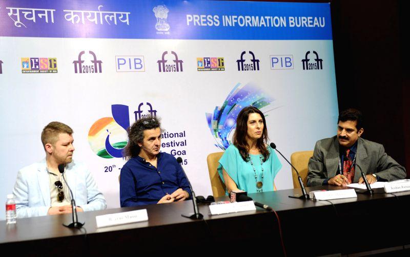 Filmmakers Mai Masri, Bjarni Massi and Donato Rotunno at a press conference, during the 46th International Film Festival of India (IFFI-2015), in Panaji, Goa on Nov 28, 2015.