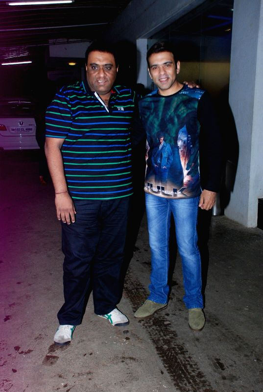 Filmmakers Sajid Samji and Farhad Samji during the screening of the film Entertainment in Mumbai on Aug 6, 2014. - Sajid Samji and Farhad Samji