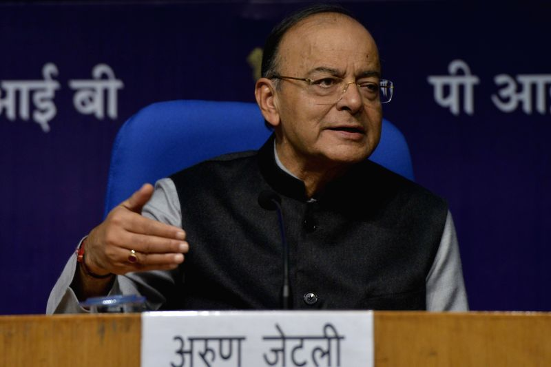 Finance Minister Arun Jaitley addresses a press conference after the presentation of Union Budget 2018-19, in New Delhi on Feb 1, 2018. - Arun Jaitley