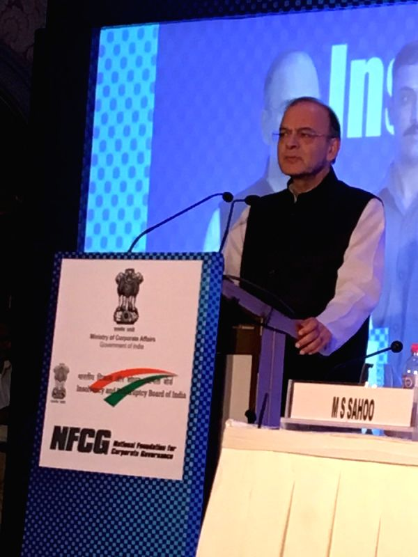 """Finance Minister Arun Jaitley addresses during """"National Conference on Insolvency and Bankruptcy: Changing Paradigm"""" in Mumbai on Aug 19, 2017."""