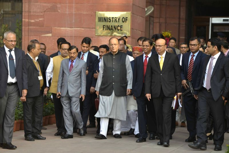 Finance Minister Arun Jaitley after presenting Union Budget 2018-19 at Parliament on Feb 1, 2018. - Arun Jaitley