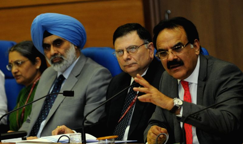 Finance Secretary, Dr. Arvind Mayaram and other secretaries of the finance ministry during a press conference regarding General Budget 2014-15 in New Delhi on July 10, 2014.