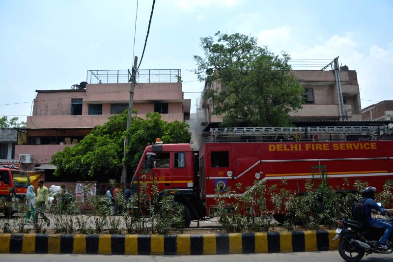 Fire breaks out at a building in Okhla of New Delhi on June 9, 2017.