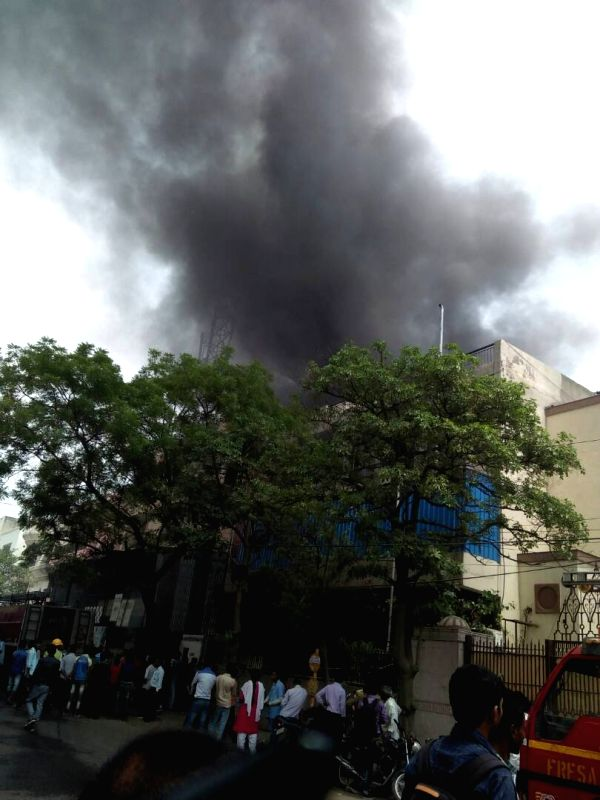 Fire breaks out at a Hero Honda showroom in Delhi on May 12, 2017.