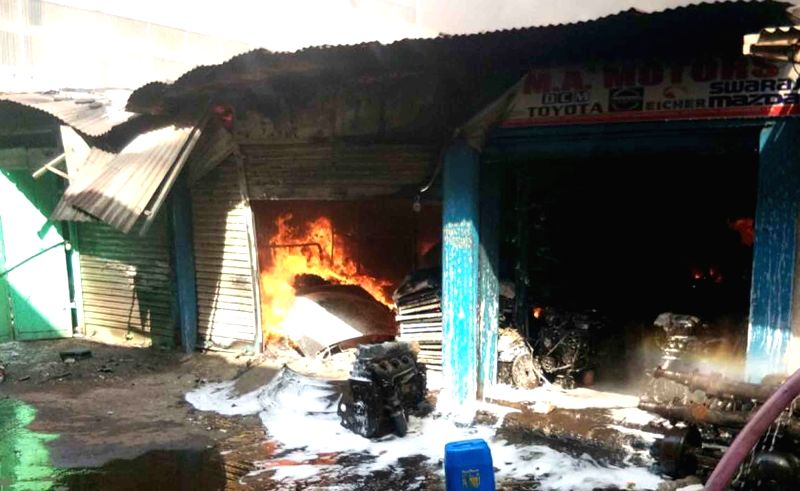 Fire breaks out at a Mahboobgang market in Hyderabad on May 13, 2017.