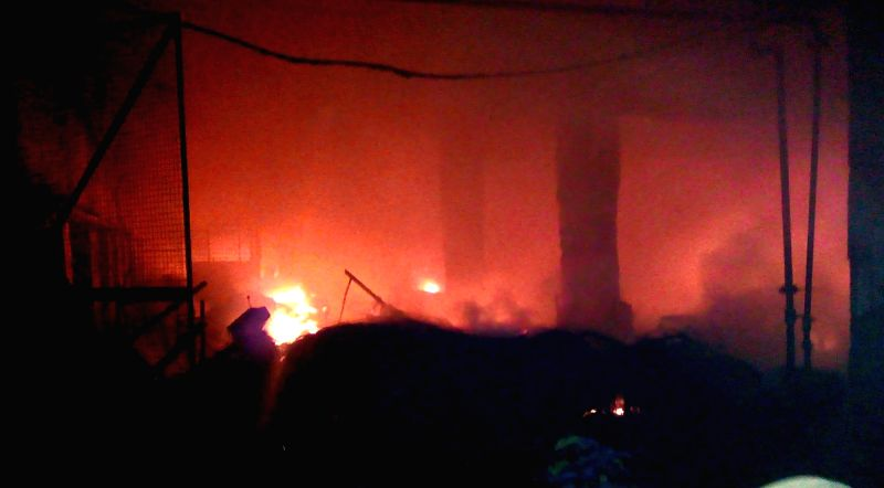 Fire breaks out at a tyre factory in Ludhiana on Oct 29, 2015.