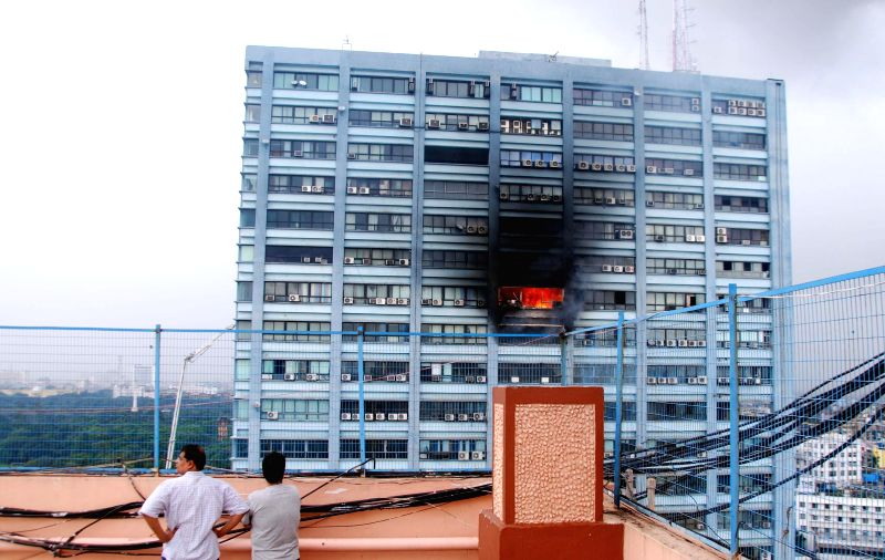Fire breaks out at Kolkata`s landmark Chatterjee International building on Sept 2, 2014.