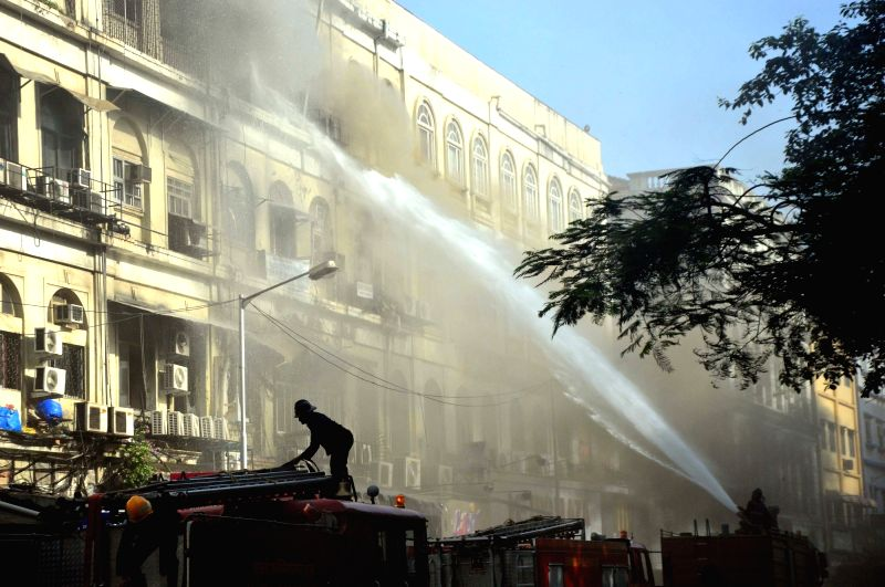 Fire breaks out at Metro House building in Mumbai's Colaba on June 2, 2016.