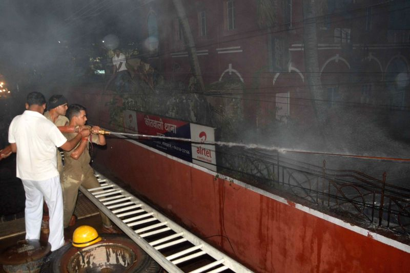 Fire breaks out in a Patna police station on May 4, 2017.