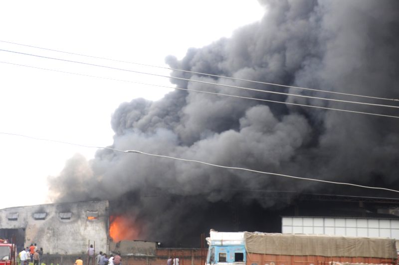 Fire breaks out in a plastic factory near Uppalwadi in Nagpur on July 19, 2018.