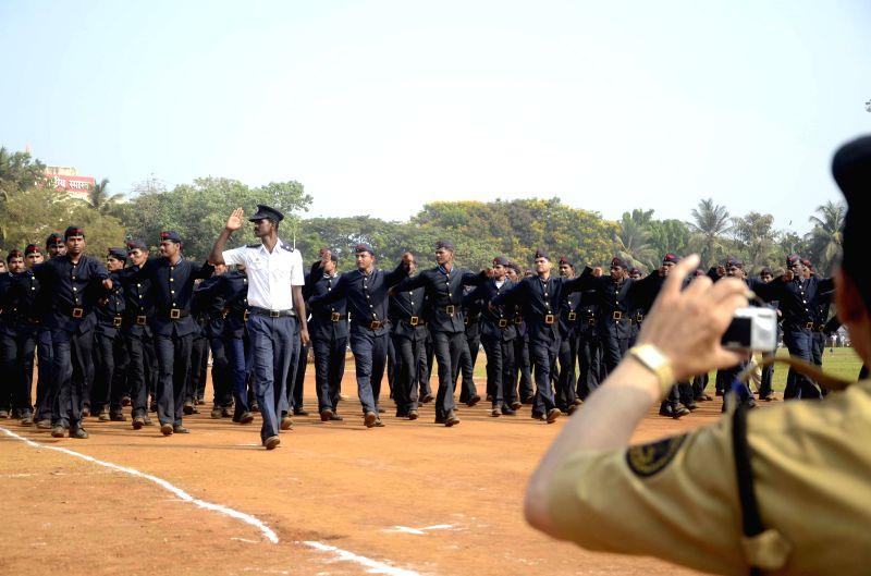 Fire brigade personnel rehearse for Maharashtra Day celebrations at Shivaji Park in Mumbai on April 27, 2014.