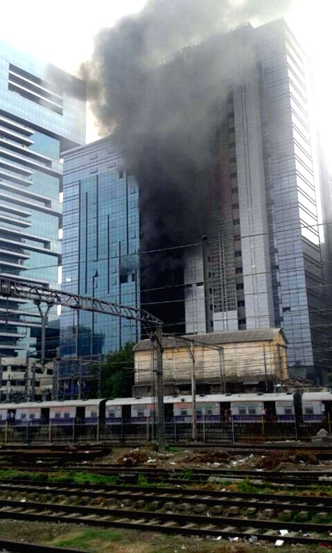 Fire broke out at Naman Midtown building at Elphinstone Road in Mumbai on June 21, 2014.