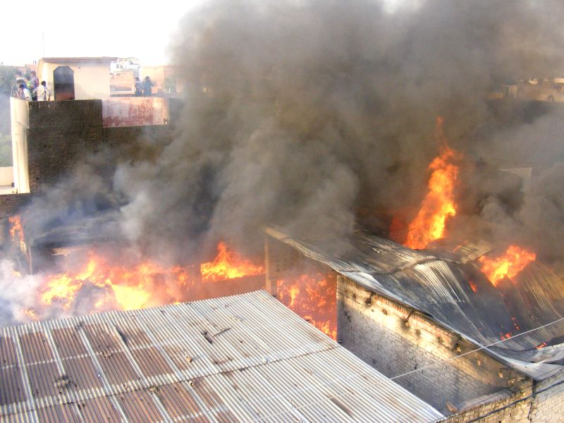 Fire engulfs a cotton godown in Allahabad on April 24, 2014.