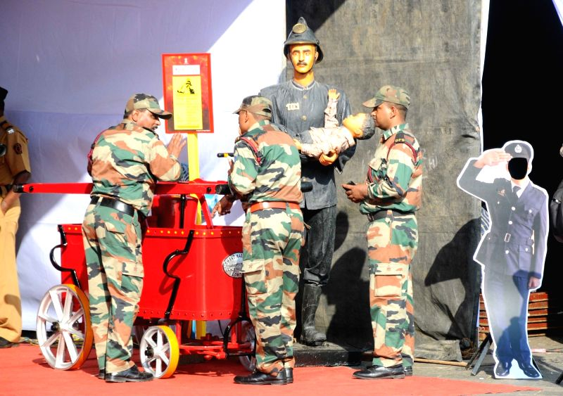 Fire safety week programme underway at Gateway of India in Mumbai on April 19, 2017.
