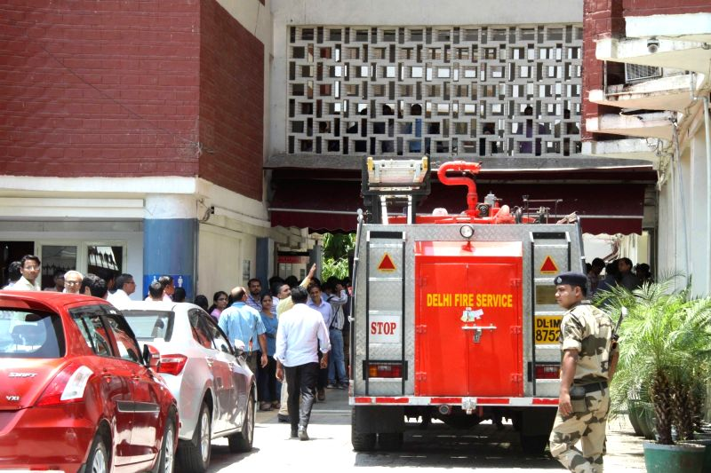 Fire tenders at Election Commission building where a fire broke out in the building in New Delhi, on June 12, 2017.