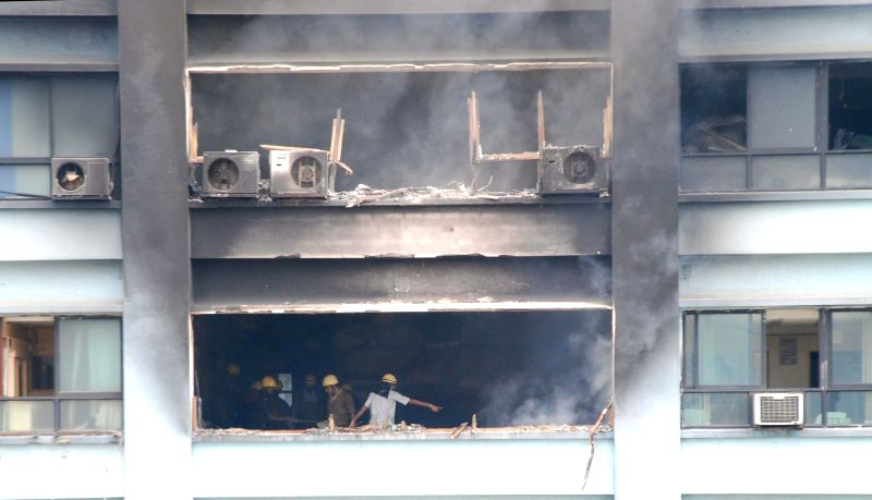 Firefighters try to douse a fire that broke out in Kolkata`s landmark Chatterjee International building on Sept 2, 2014.