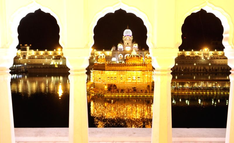 Fireworks at the Golden Temple on the birth anniversary of Guru Angad Dev in Amritsar on April 27, 2017. - Angad Dev