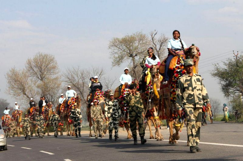 The Women Camel Safari-2015 proceeds towards Attari from Fazilka under the leadership of Dr. Sujata Shinde on March 19, 2015. 13 BSF Mahila Constables and 14 women from the TATA Adventure ...