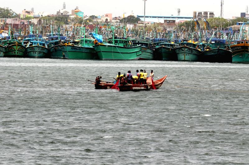 Fishermen venture in to the sea ahead of the 60-day ban on fishing ban that will be lifted paving the way for fishing activities to resume from June 15 onward; in Chennai on June 9, 2018.