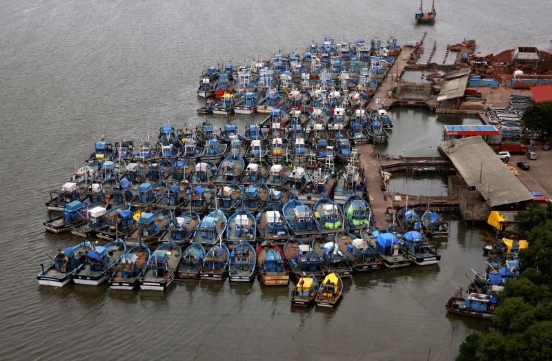 Fishing trawlers anchored at Goa's Agassaim jetty as a 61-day long fishing ban on mechanized fishing boats comes to end on 31st July; on July 27, 2018.