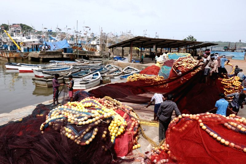 Fishing trawlers anchored at Goa's Malim Jetty as workers didn't show up at the jetty even after 61 days fishing ban was lifted, on Aug 2, 2018. Only one trawler could venture into the sea for ...