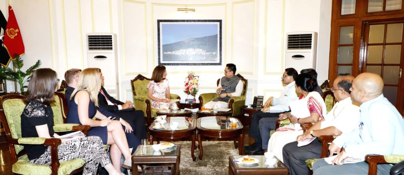 Five delegates from United Kingdom led by Minister of State for Countering Extremism and Minister for Equalities Baroness Williams of Trafford meet Union MoS Home Affairs Kiren Rijiju, in ...