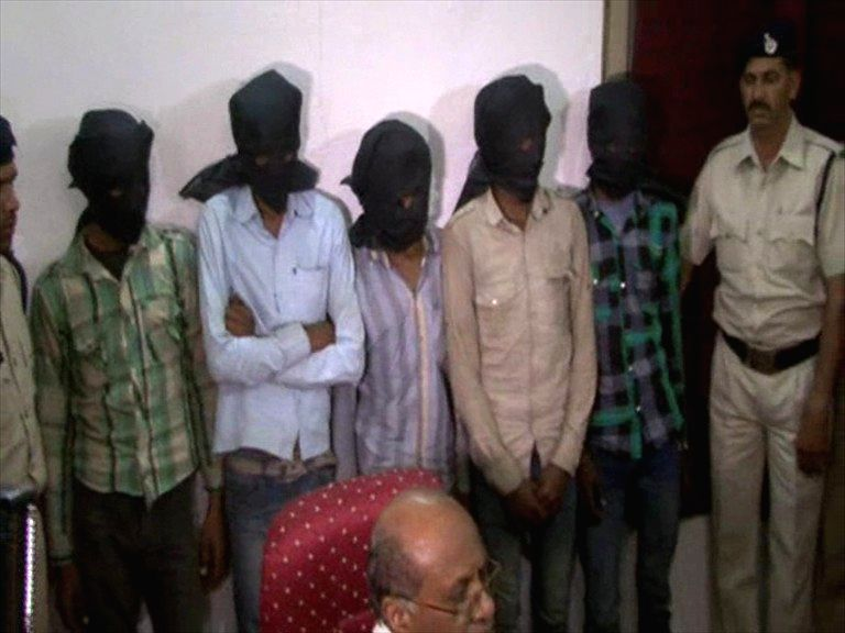 Five people arrested in connection with the gang-rape of a Swiss national in Datia on March 17, 2013.