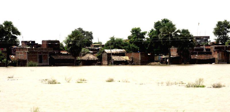 Flood affected Patna district of Bihar on Aug 19, 2014.