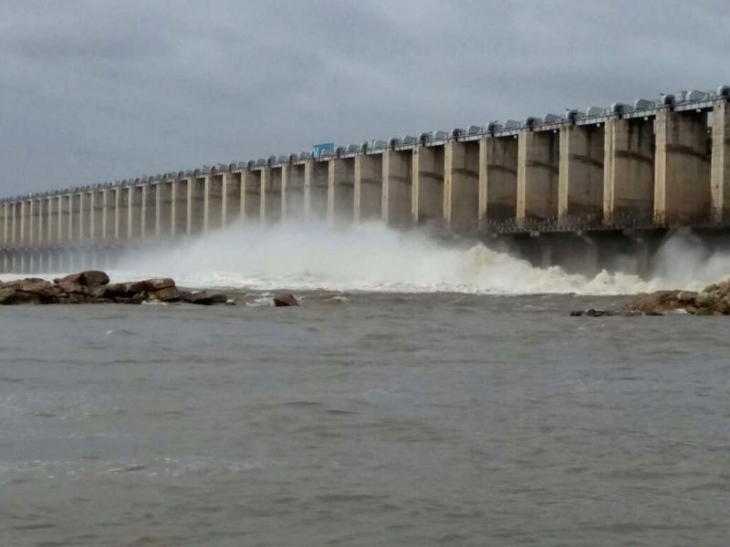 Flood gates of Jurala Project opened at Mahabubnagar, Telangana, on July, 20, 2018.