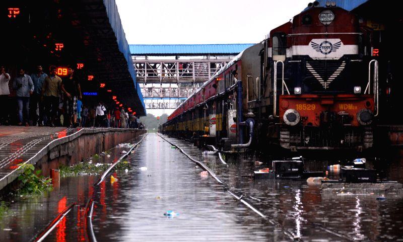 Flooded railway tracks after heavy rains in Jaipur on Aug. 9, 2014.