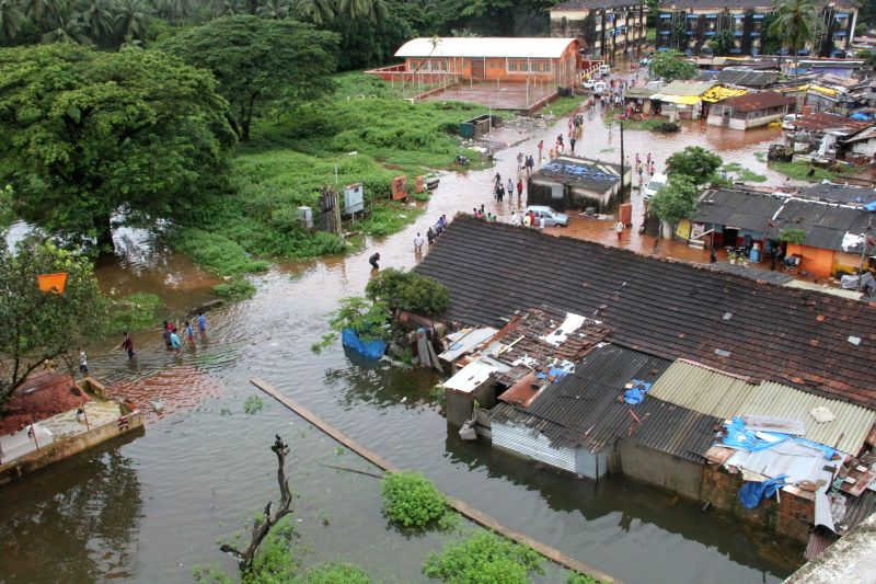 Flooded residential areas after continues rain for last three days in Panaji on Aug. 30, 2014.