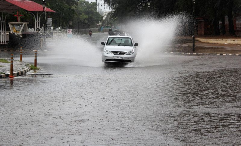 Flooded roads of Goa after incessant rains since last three days on Aug 28, 2014.