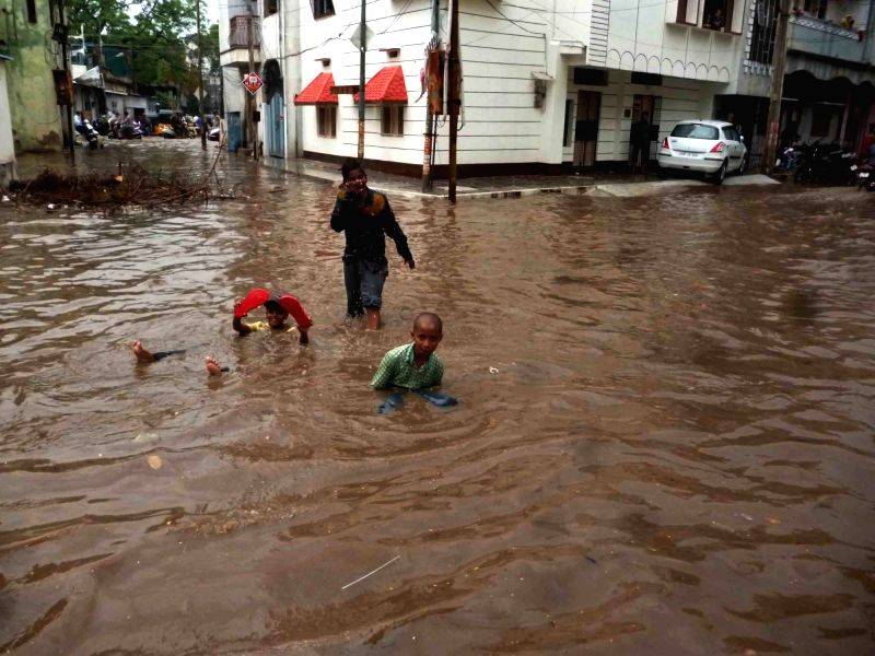 Flooded streets of Hyderabad on June 9, 2017.