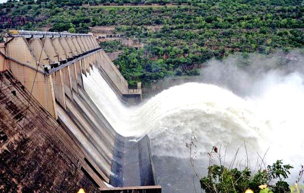 Floodgates of Srisailam Dam being opened due to the heavy flow of water at Mahabubnagar District of Telangana on July 22, 2016.