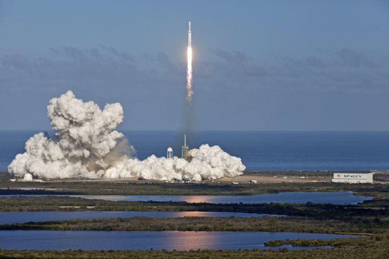 FLORIDA, Feb. 7, 2018 - A SpaceX Falcon Heavy rocket lifts off from Florida's Kennedy Space Center, the United States, Feb. 6, 2018. The Falcon Heavy blasted off from the Kennedy Space Center in the ...
