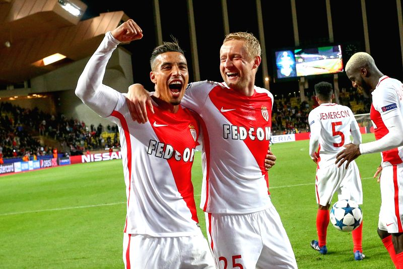 FONTVIEILLE, April 20, 2017 - Players of AS Monaco celebrate after the quaterfinal second leg match of UEFA Champions League against Borussia Dortmund in Fontvieille, Monaco on April 19, 2017. Monaco ...