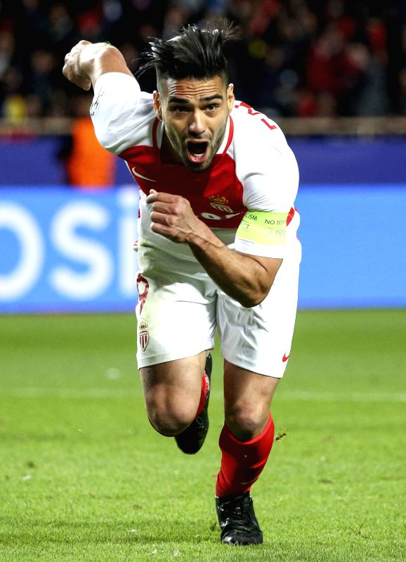 FONTVIEILLE, April 20, 2017 - Radamel Falcao of AS Monaco celebrates scoring during the quaterfinal second leg match of UEFA Champions League against Borussia Dortmund in Fontvieille, Monaco on April ...