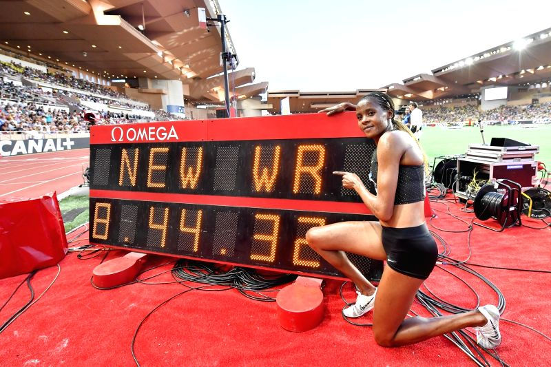 FONTVIEILLE, July 21, 2018 - Beatrice Chepkoech of Kenya poses for photos after the  women's 3000m steeple match at the IAAF Diamond League athletics 'Herculis' meetings in Fontvieille, Monaco on ...