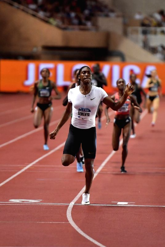 FONTVIEILLE, July 21, 2018 - Caster Semenya (front) of South Africa competes during the women's 800m match at the IAAF Diamond League athletics 'Herculis' meetings in Fontvieille, Monaco on July 20, ...
