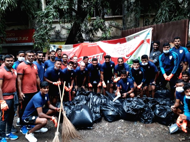 Footballers of Indian Senior National Team along with Coach Stephen Constantine participate in 'Swachhata Hi Seva' campaign in Mumbai, on Sept 29, 2017. Prime Minister Narendra Modi lauded ... - Narendra Modi