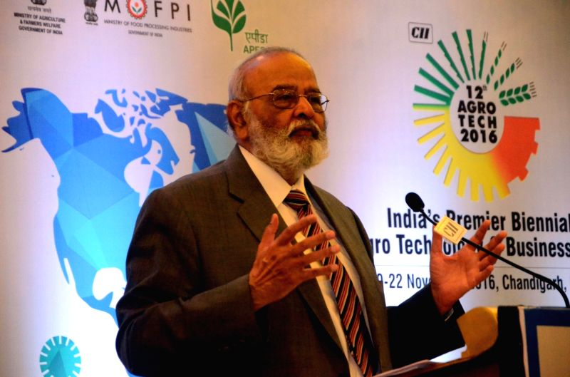 "Force Motors chairman Dr Abhay Firodia addresses during a discussion on ""Technology Interventions for Sustainable Agriculture""  during CII Agro Tech 2016 in Mumbai, on May 25, 2016."