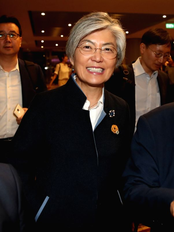 Foreign Minister Kang Kyung-wha arrives ar Changi International Airport in Singapore on July 31, 2018, to attend the ASEAN-South Korea foreign ministers' meeting and a Mekong-South Korea ... - Kang Kyung