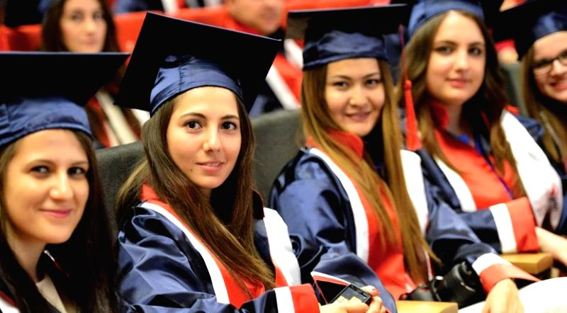 Foreign students studying in Turkey.