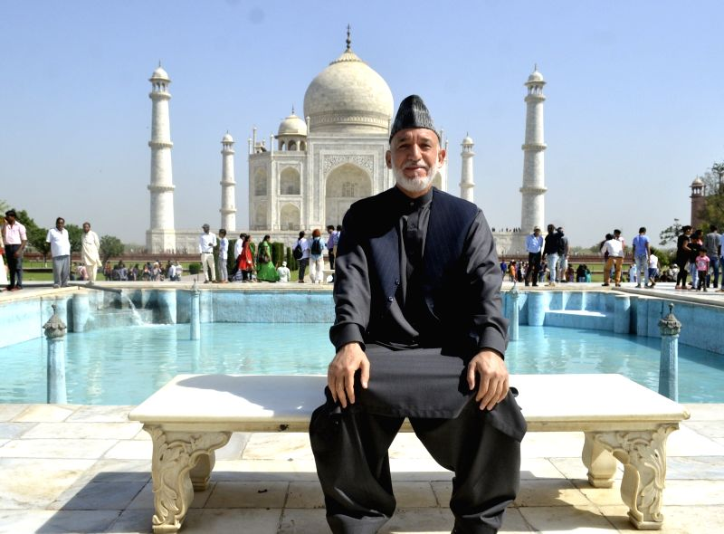 Former Afghanistan President Hamid Karzai during his visit to the Taj Mahal, in Agra on April 22, 2018.